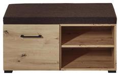 GARDEROBENBANK Braun, Eichefarben  - Eichefarben/Schwarz, Design, Textil/Metall (84/43/40cm) - Voleo