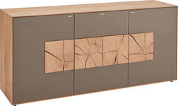 SIDEBOARD 175/80,5/49 cm  - Fango/Eichefarben, Design, Glas/Holz (175/80,5/49cm) - Valnatura