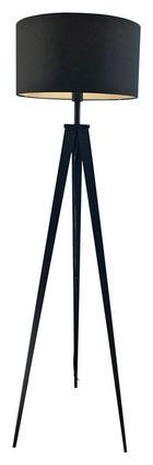 STEHLEUCHTE - Schwarz, Design, Textil/Metall (49/157,5cm) - NOVEL