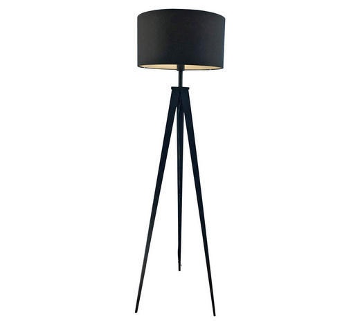 STOJACÍ SVÍTIDLO - černá, Lifestyle, kov/textilie (49/157,5cm) - Ambiente