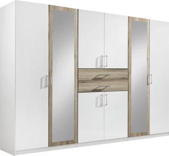ORMAR ZA ODJEĆU - bijela/boje hrasta, Design, staklo/drvni materijal (270/210/58cm) - Hom`in