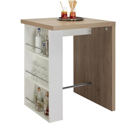 BAROVÝ STŮL, bílá, barvy dubu - bílá/barvy dubu, Konvenční, kompozitní dřevo (85/85/110cm) - Carryhome