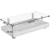 COUCHTISCH in 110/35/60 cm Edelstahlfarben, Eichefarben - Edelstahlfarben/Eichefarben, Trend, Glas/Holzwerkstoff (110/35/60cm) - CARRYHOME