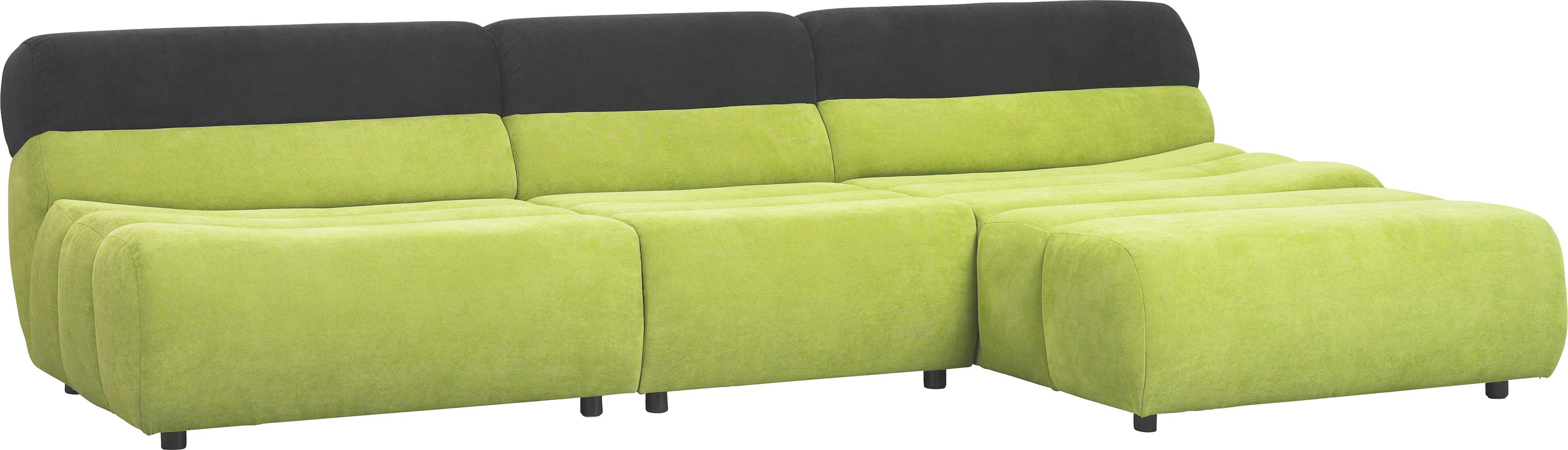 WOHNLANDSCHAFT Webstoff - Schwarz/Grün, Design, Kunststoff/Textil (295/76/170cm)