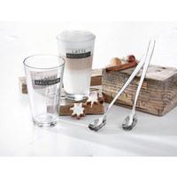 KAFFEEGLAS 330 ml - Klar/Silberfarben, Glas/Metall - NOVEL
