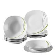 Porzellan  TAFELSERVICE  12-teilig - Weiß/Grau, KONVENTIONELL, Keramik - Boxxx