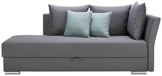 LIEGE in Textil Grau - Chromfarben/Anthrazit, Design, Kunststoff/Textil (220/93/100cm) - Xora