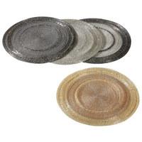PLATZDECKCHEN Glas, Metall Grau, Silberfarben 35 cm - Silberfarben/Grau, Basics, Glas/Metall (35cm) - X-Mas