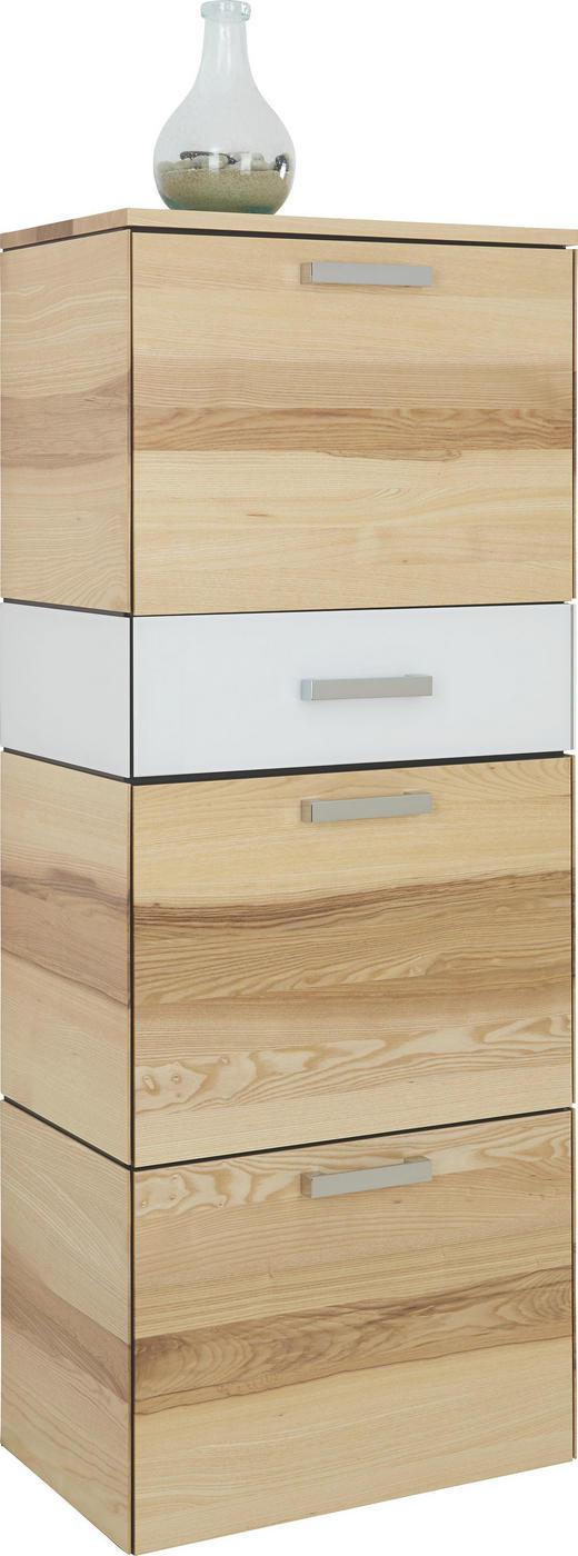 SCHUHKIPPER Kernesche furniert, teilmassiv Eschefarben, Weiß - Eschefarben/Silberfarben, Design, Glas/Holz (60/152/37cm) - CASSANDO