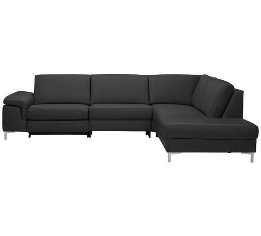 WOHNLANDSCHAFT in Leder Anthrazit - Anthrazit/Alufarben, Design, Leder/Metall (291/237cm) - Beldomo Premium