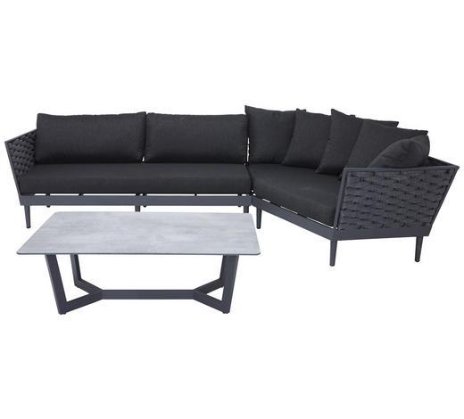 LOUNGEGARNITUR 12-teilig  177/189 cm - Dunkelgrau/Anthrazit, MODERN, Kunststoff/Textil (177/189cm) - Amatio