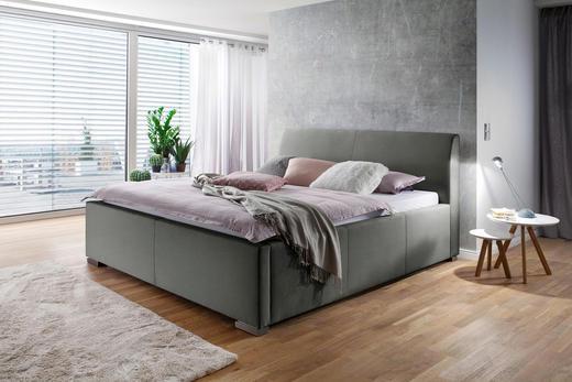 POLSTERBETT Flachgewebe 120/200 cm - Edelstahlfarben/Hellgrau, MODERN, Textil (120/200cm) - Carryhome