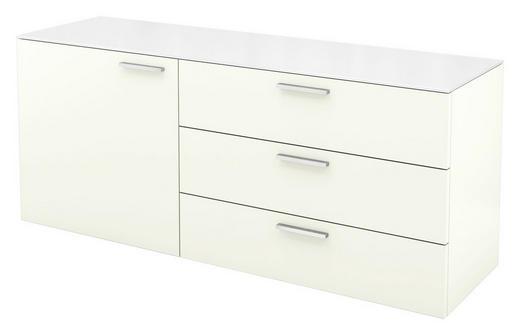 KOMMODE Weiß - Alufarben/Weiß, Design, Glas/Metall (140/58,5/40,1cm) - HÜLSTA