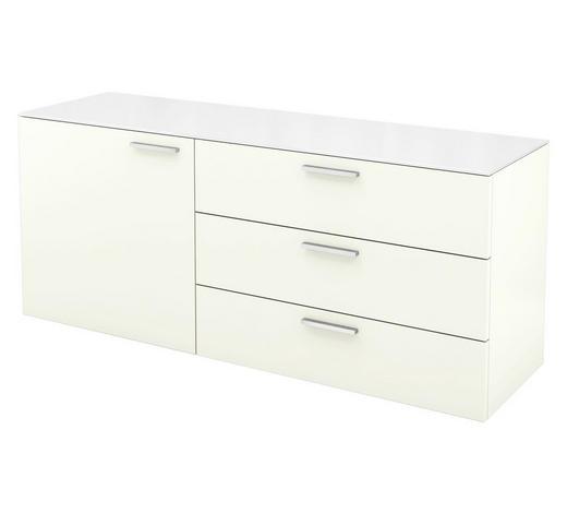 KOMMODE lackiert Weiß  - Alufarben/Weiß, Design, Glas/Metall (140/58,5/40,1cm) - Hülsta