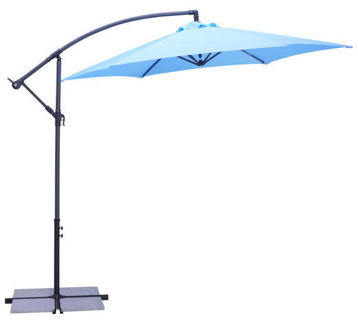 ZÁVĚSNÝ SLUNEČNÍK - antracitová/světle modrá, Design, kov/textilie (300/235cm) - Xora