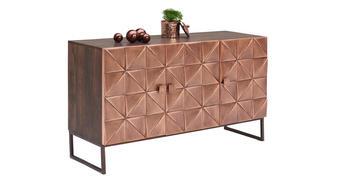 KOMMODE Mangoholz massiv lackiert, gebeizt Braun, Kupferfarben  - Braun/Kupferfarben, Trend, Holz/Holzwerkstoff (135/76/42cm)