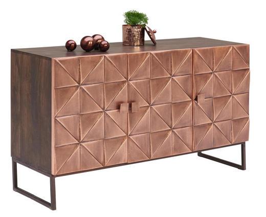 KOMMODE Mangoholz massiv Braun, Kupferfarben - Braun/Kupferfarben, Trend, Holz/Holzwerkstoff (135/76/42cm)