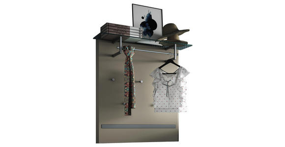 GARDEROBENPANEEL 95/104/29 cm  - Taupe/Alufarben, Design, Glas/Holzwerkstoff (95/104/29cm) - Dieter Knoll