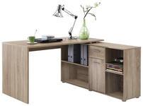ECKSCHREIBTISCH Eichefarben  - Chromfarben/Eichefarben, Design, Holz/Kunststoff (137/75/68cm) - Cantus