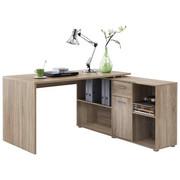 KOTNA PISALNA MIZA leseni material hrast  - hrast/krom, Design, umetna masa/leseni material (137/75/68cm) - Cantus