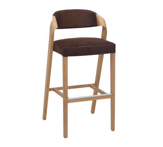 BARHOCKER in Braun, Eichefarben - Eichefarben/Braun, Design, Holz/Textil (52/103/51,5cm) - Voglauer