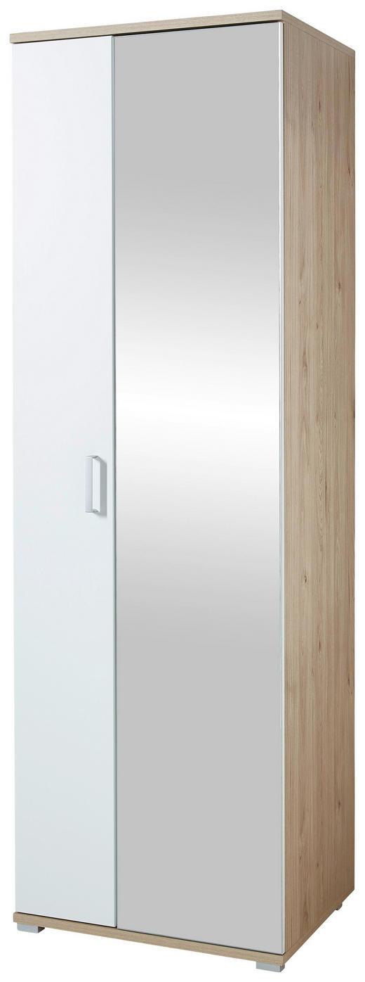 GARDEROBENSCHRANK foliert, lackiert, matt Eichefarben, Weiß - Chromfarben/Eichefarben, KONVENTIONELL, Glas/Holzwerkstoff (70/219/57cm) - Xora