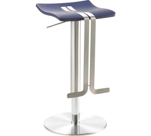 BARHOCKER in Metall, Kunststoff Blau, Edelstahlfarben - Blau/Edelstahlfarben, Design, Kunststoff/Metall (36/58-85/34cm)