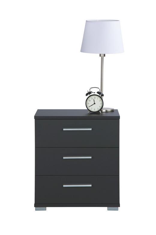 NACHTKÄSTCHEN Schwarz - Schwarz/Alufarben, Design, Kunststoff (45/50/34cm) - Carryhome