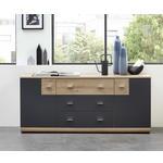 SIDEBOARD Graphitfarben, Eichefarben  - Chromfarben/Eichefarben, MODERN, Holzwerkstoff/Kunststoff (180/78/44cm) - Carryhome