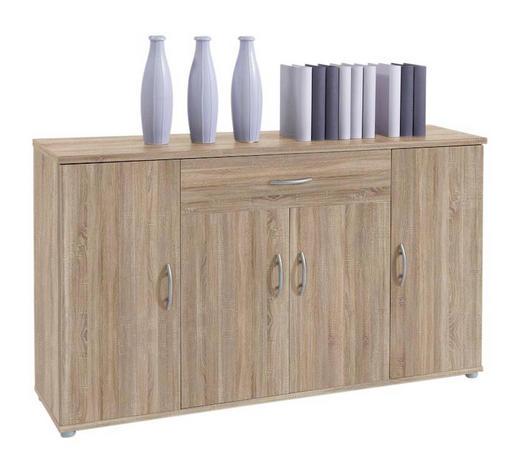 KOMODA, hrast sonoma - hrast sonoma/srebrna, Design, umetna masa/leseni material (118/70/30cm) - Boxxx