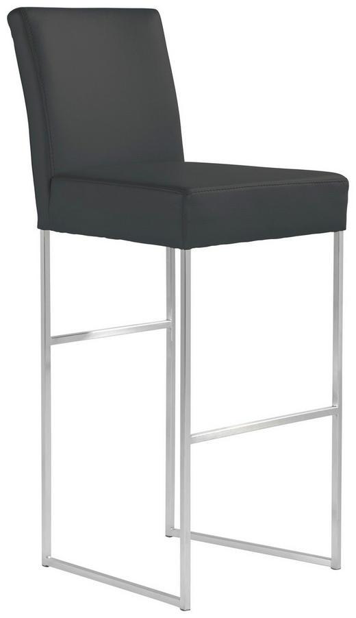 BARHOCKER Echtleder Schwarz - Schwarz, Design, Leder/Metall (47/112/60cm) - MUSTERRING