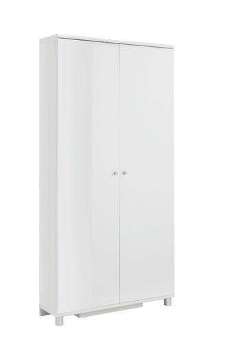 SCHUHSCHRANK Hochglanz, lackiert Weiß - Silberfarben/Weiß, Design, Holzwerkstoff/Metall (90,6/188,5/28,0cm) - XORA