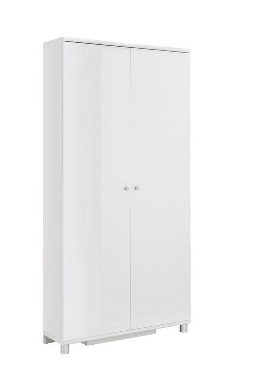 SCHUHSCHRANK 90,6/188,5/28,0 cm - Silberfarben/Weiß, Design, Holzwerkstoff/Metall (90,6/188,5/28,0cm) - Xora