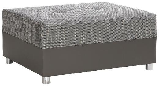 HOCKER Lederlook, Webstoff Dunkelgrau, Grau - Chromfarben/Dunkelgrau, Design, Kunststoff/Textil (96/42/78cm) - Carryhome