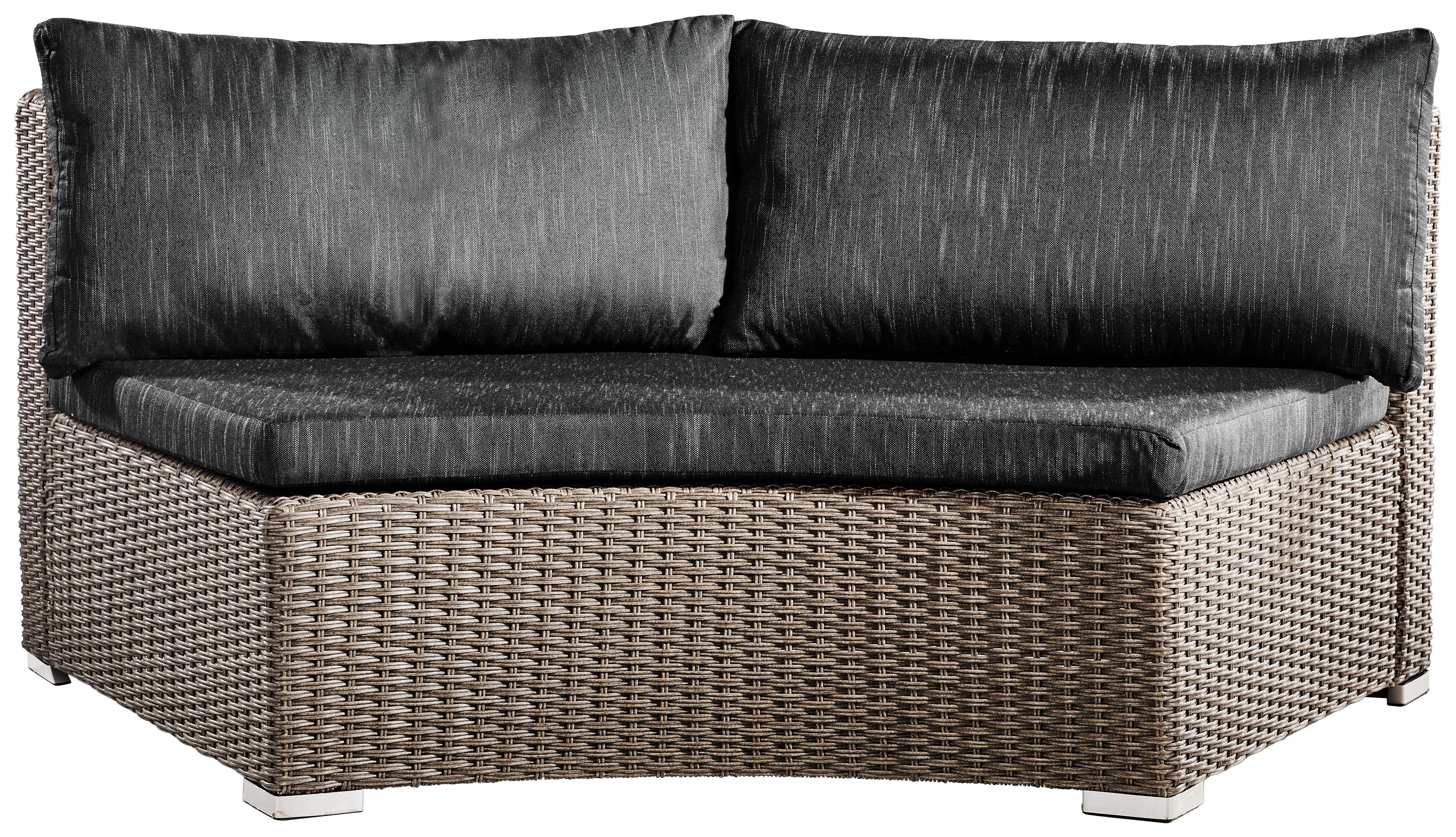 LOUNGEMITTELTEIL  Kunststoffgeflecht Aluminium Grau, Schwarz - Schwarz/Grau, Trend, Kunststoff/Textil (166/70/88cm) - AMBIA GARDEN