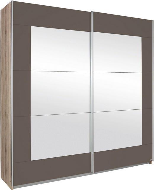 SCHWEBETÜRENSCHRANK 2-türig Braun, Eichefarben, Grau - Eichefarben/Alufarben, Design, Glas/Holzwerkstoff (271/210/62cm) - Xora