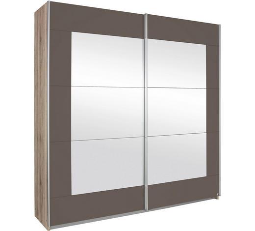 SCHWEBETÜRENSCHRANK in Braun, Eichefarben, Grau - Eichefarben/Alufarben, KONVENTIONELL, Glas/Holzwerkstoff (181/210/62cm) - Xora