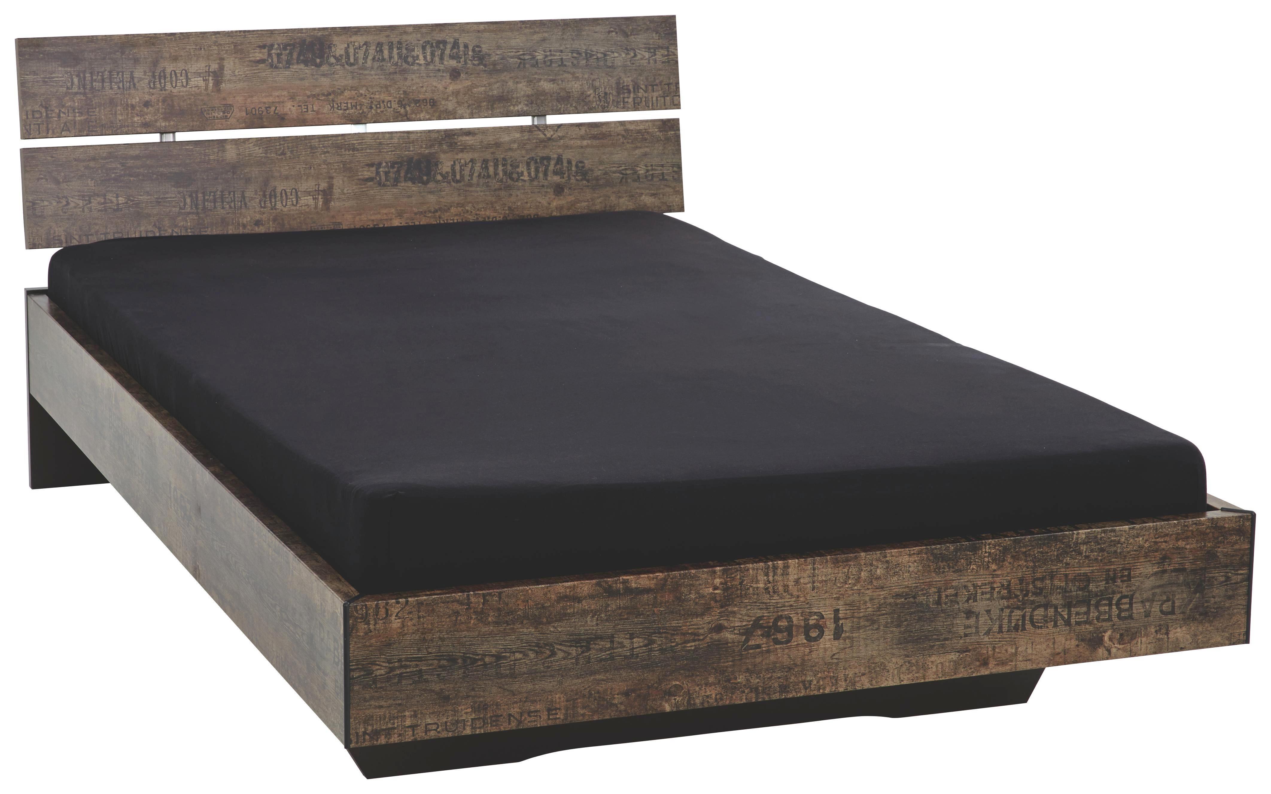 Bett Schwarz Braun Design Holzwerkstoff 97 83 215cm