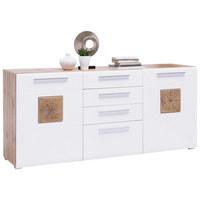 KOMODA SIDEBOARD - bílá/barvy dubu, Konvenční, kompozitní dřevo/umělá hmota (180/82/43cm) - Hom`in