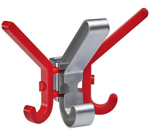 WANDHAKEN in Rot, Chromfarben  - Chromfarben/Rot, Design, Kunststoff/Metall (2-17/13/11cm)