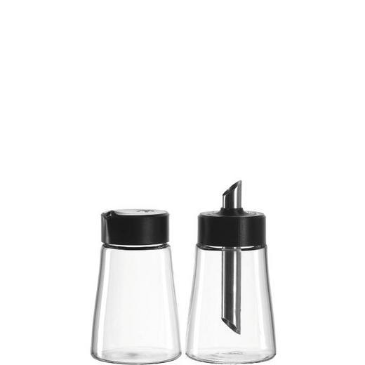 MILCH- UND ZUCKER-SET - Klar/Silberfarben, Glas/Kunststoff (15,5/15,7/7,8cm) - Leonardo
