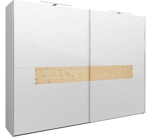 SCHWEBETÜRENSCHRANK in Weiß, Zirbelkieferfarben - Chromfarben/Zirbelkieferfarben, KONVENTIONELL, Glas/Holzwerkstoff (320/240/69cm) - Dieter Knoll