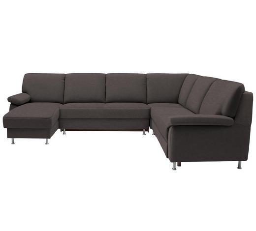 WOHNLANDSCHAFT in Textil Braun, Grau  - Braun/Grau, KONVENTIONELL, Textil/Metall (155/313/250cm) - Ada Austria