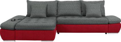 WOHNLANDSCHAFT in Textil Grau, Rot - Chromfarben/Rot, Design, Textil/Metall (200/309cm) - Hom`in