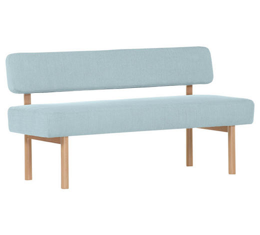 SITZBANK Flachgewebe Buche massiv Hellblau  - Buchefarben/Hellblau, Design, Holz/Textil (160/87/58cm) - Xora