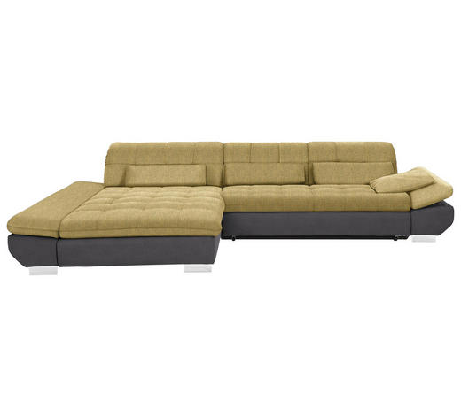 WOHNLANDSCHAFT in Textil Gelb, Taupe - Taupe/Chromfarben, Design, Kunststoff/Textil (204/341cm) - Xora
