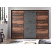 OMARA Z DRSNIMI VRATI, siva  - siva, Trend, leseni material (270/210/63cm) - Ti`me