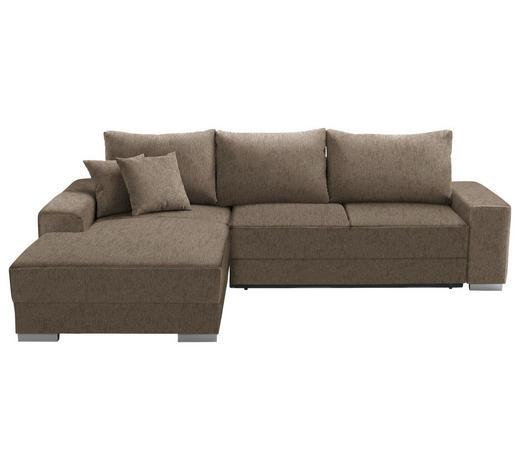 WOHNLANDSCHAFT in Textil Taupe  - Taupe/Silberfarben, Design, Kunststoff/Textil (196/276cm) - Cantus