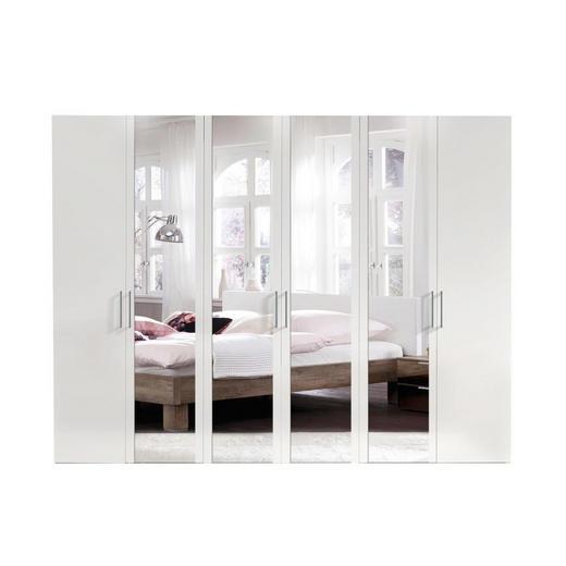 DREHTÜRENSCHRANK 6  -türig Weiß - Alufarben/Weiß, KONVENTIONELL, Glas/Holzwerkstoff (300/216/58cm) - Hom`in