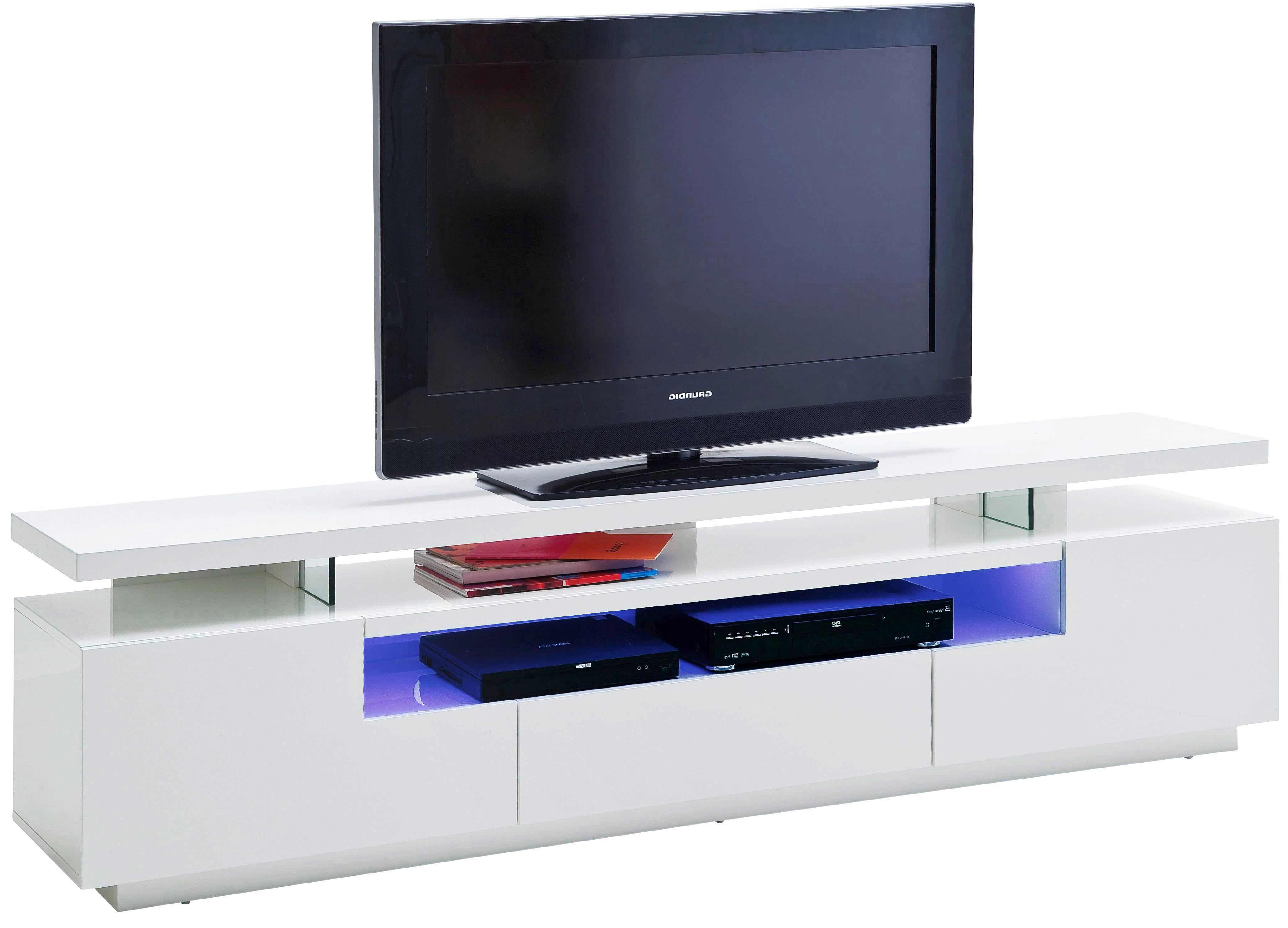 LOWBOARD Hochglanz, lackiert Weiß - Weiß, Design (200/51/42cm)